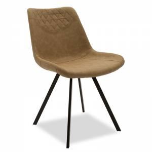 Καρέκλα Orca pakoworld μεταλλική μαύρη με pu μπεζ-καφέ