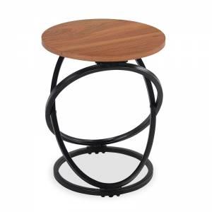 Βοηθητικό τραπέζι Tao pakoworld MDF μεταλλικό καρυδί-μαύρο Φ40x50εκ