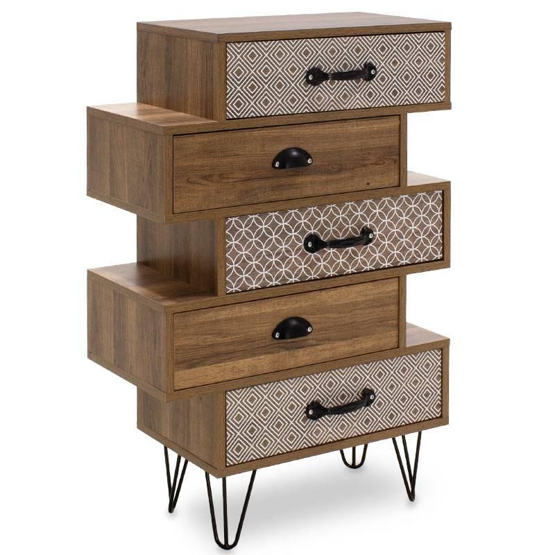 Συρταριέρα Boho με πέντε συρτάρια καρυδί μεταλλικά πόδια 59x32x90εκ