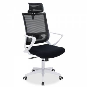 Καρέκλα γραφείου διευθυντή Batman pakoworld με ύφασμα mesh μαύρο - λευκό πλαίσιο