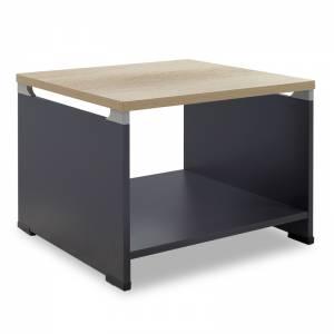 Τραπέζι γραφείου επισκέπτη Lotus pakoworld χρώμα φυσικό - ανθρακί 60x60x45εκ