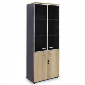 Ντουλάπα γραφείου με γυάλινες πόρτες Lotus pakoworld χρώμα φυσικό - ανθρακί 80x40x200εκ