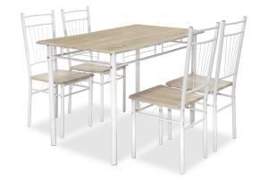 Τραπεζαρία Roza pakoworld σετ 5τμχ χρώμα sonoma - πόδια λευκό gloss 120x70x75εκ