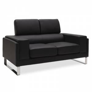 Καναπές Shea pakoworld 2θέσιος pu μαύρο-inox 158x80x87εκ