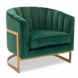 Πολυθρόνα Casanova pakoworld με βελούδο χρώμα κυπαρισσί 80x74x74εκ