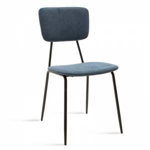 Καρέκλα Tania pakoworld μαύρο-ύφασμα μπλε