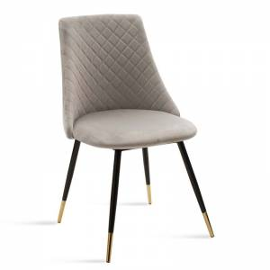 Καρέκλα Giselle pakoworld μεταλλική μαύρη με ύφασμα βελουτέ γκρι