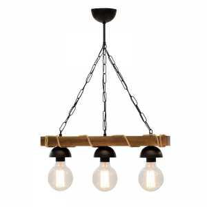 Φωτιστικό οροφής τρίφωτο PWL-0107 pakoworld χρώμα καρυδί-μαύρο 50x8,5x59,5εκ