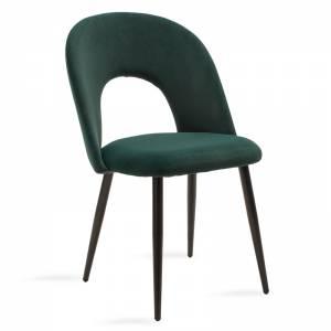 Καρέκλα Jonah pakoworld μεταλλική μαύρη βελουτέ κυπαρισσί