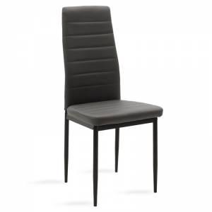 Καρέκλα Parker pakoworld μεταλλική μαύρη με pu ανθρακί