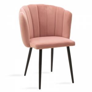 Καρέκλα Esme pakoworld μεταλλική μαύρη με βελούδο ροζ