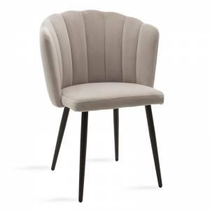 Καρέκλα Esme pakoworld μεταλλική μαύρη με βελούδο γκρι