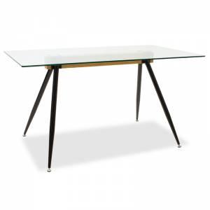 Τραπέζι Astrid pakoworld γυάλινο 10χιλ - πόδι μαύρο 140x80x75εκ