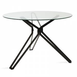 Τραπέζι Aryan pakoworld στρογγυλό γυάλινο-πόδι μαύρο Φ110x75εκ