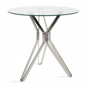Τραπέζι Aryan pakoworld στρογγυλό γυάλινο-πόδι inoxΦ80x75εκ