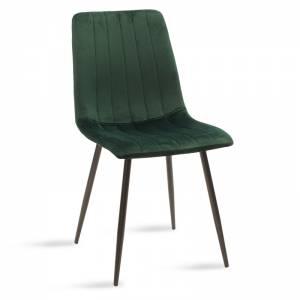 Καρέκλα Noor pakoworld μεταλλική μαύρη με βελούδο σκούρο πράσινο
