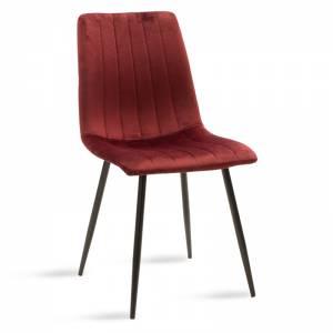 Καρέκλα Noor pakoworld μεταλλική μαύρη με βελούδο σκούρο κόκκινο