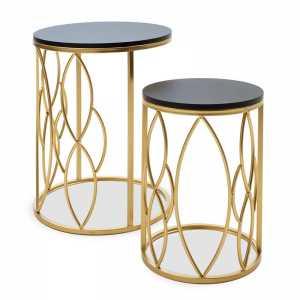 Βοηθητικά τραπέζια σαλονιού Zion I pakoworld σετ 2 τεμ χρυσό-μαύρο 39x39x50εκ