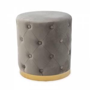 Σκαμπό σαλονιού Cora pakoworld βελούδο γκρι-χρυσό Φ40x42εκ