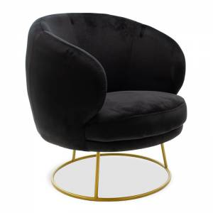 Πολυθρόνα Rony pakoworld βελούδο μαύρο-χρυσό 78x75x82εκ