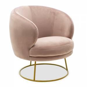 Πολυθρόνα Rony pakoworld βελούδο ροζ-χρυσό 78x75x82εκ