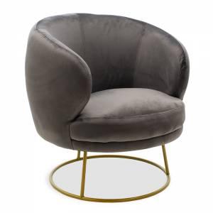 Πολυθρόνα Rony pakoworld βελούδο σκούρο γκρι-χρυσό 78x75x82εκ