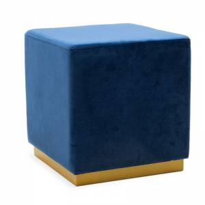 Σκαμπό σαλονιού Pyra pakoworld βελούδο μπλε-χρυσό 39x39x41εκ