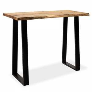 Τραπέζι μπαρ-κονσόλα Miles pakoworld μασίφ ξύλο χρώμα καρυδί-πόδι μέταλλο μαύρο 120x53x97εκ