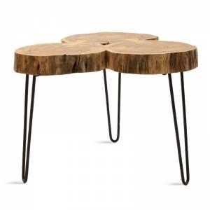Τραπέζι σαλονιού Tripp pakoworld μασίφ ξύλο χρώμα καρυδί-πόδι μέταλλο μαύρο 60x60x46εκ