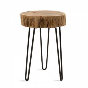 Βοηθητικό τραπέζι σαλονιού Tripp pakoworld μασίφ ξύλο χρώμα καρυδί-πόδι μέταλλο μαύρο 32x30x47εκ