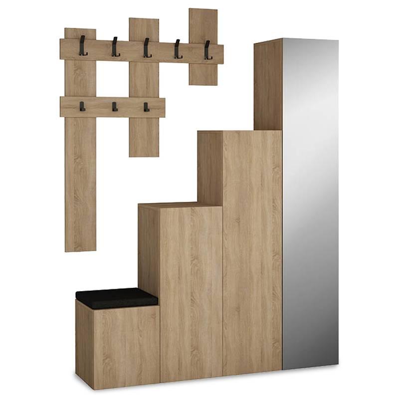Έπιπλο εισόδου-παπουτσοθήκη  UP 10 ζεύγων κρεμάστρα-καθρέπτης φυσικό 150x37x180