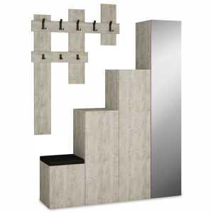 Έπιπλο εισόδου-παπουτσοθήκη UP 10 ζεύγων κρεμάστρα antique λευκό 150x37x180