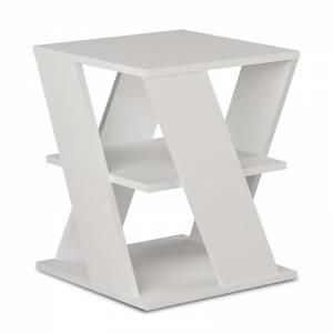 Βοηθητικό τραπέζι Cyclo pakoworld χρώμα λευκό 55x55x55εκ