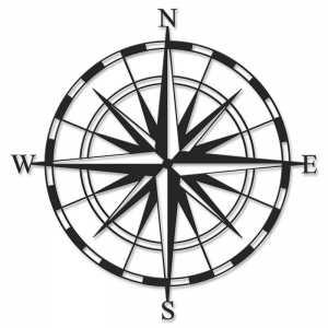 Μεταλλικό διακοσμητικό τοίχου Compass 45x0,3x45εκ