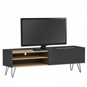 Έπιπλο τηλεόρασης Veronica pakoworld χρώμα ανθρακί-φυσικό 120x33x49,5εκ