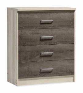 Συρταριέρα OLYMPUS pakoworld με 4 συρτάρια χρώμα castillo-toro 80x40x95εκ