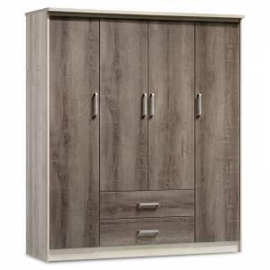 Ντουλάπα ρούχων τετράφυλλη OLYMPUS pakoworld χρώμα castillo-toro 159x57x183εκ