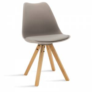 Καρέκλα Caron pakoworld pp χρώμα γκρι - φυσικό