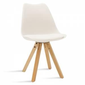 Καρέκλα Caron pakoworld pp χρώμα λευκό - φυσικό