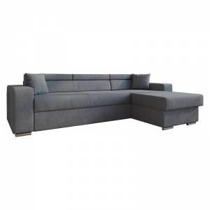 Γωνιακός καναπές-κρεβάτι αναστρέψιμος Lura pakoworld ανθρακί 255x162x75-90εκ