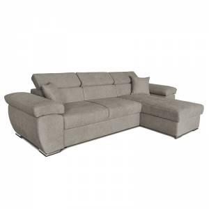 Γωνιακός καναπές-κρεβάτι αναστρέψιμος Comy pakoworld μπεζ-καφέ 286x160x75-90εκ