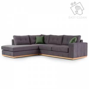 Γωνιακός καναπές δεξιά γωνία Boston pakoworld ύφασμα ανθρακί-κυπαρισσί 280x225x90εκ