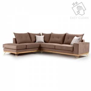 Γωνιακός καναπές δεξιά γωνία Luxury II pakoworld ύφασμα mocha-cream 290x235x95εκ