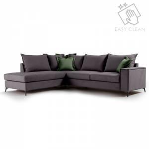 Γωνιακός καναπές δεξιά γωνία Romantic pakoworld ύφασμα ανθρακί-κυπαρισσί 290x235x95εκ
