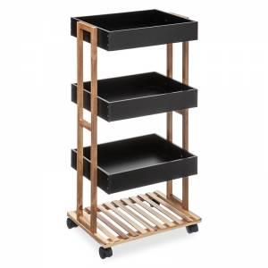Τρόλεϊ-ραφιέρα 4όροφη Irene pakoworld ξύλινη χρώμα φυσικό-μαύρο 41x30x88εκ