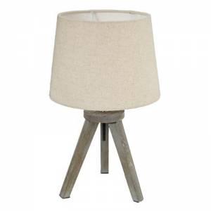 Επιτραπέζιο φωτιστικό Trip pakoworld ξύλινο χρώμα γκρι καφέ-καπέλο εκρού Φ18x30,5εκ