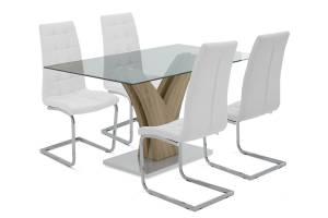 Τραπεζαρία Gull σετ 5τμχ διάφανο γυαλί - κάθισμα λευκό pu 150x90x76εκ