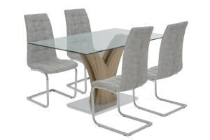 Τραπεζαρία Gull pakoworld σετ 5τμχ διάφανο γυαλί sonoma-κάθισμα antique γκρι pu 150x90x76εκ