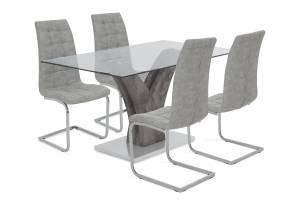 Τραπεζαρία Gull pakoworld σετ 5τμχ διάφανο γυαλί-κάθισμα antique γκρι pu 150x90x76εκ