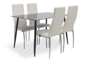 Τραπεζαρία Vincenzo σετ 5τμχ μαύρο γυαλί-κάθισμα λευκό pu 120x80x75εκ